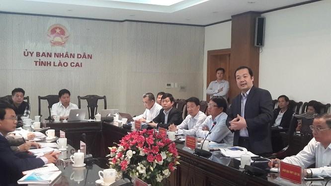 Tổng Giám đốc VNPT Phạm Đức Long phát biểu tại buổi làm việc với lãnh đạo UBND tỉnh Lào Cai.