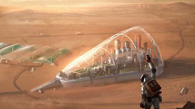 Cuộc sống trên Sao Hoả trong tương lai. Ảnh minh hoạ: Internet