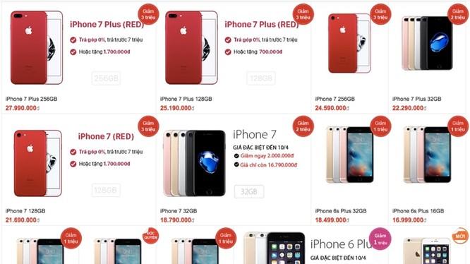 """Bảng giá iPhone của FPT Shop giảm giá """"đỏ sàn"""" - Ảnh chụp màn hình"""