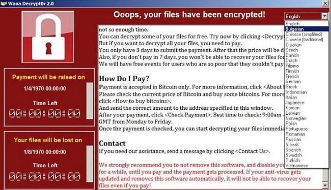 Cửa sổ hiện ra yêu cầu nạn nhân trả tiền chuộc dữ liệu bằng bitcoin.