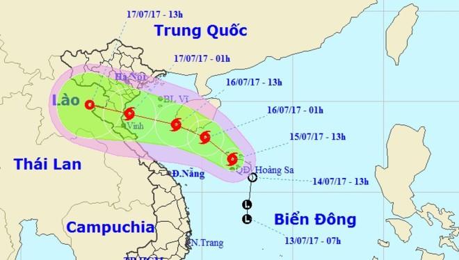 Hướng di chuyển của bão số 2. Ảnh: Trung tâm dự báo Khí tượng Thủy văn Trung ương.