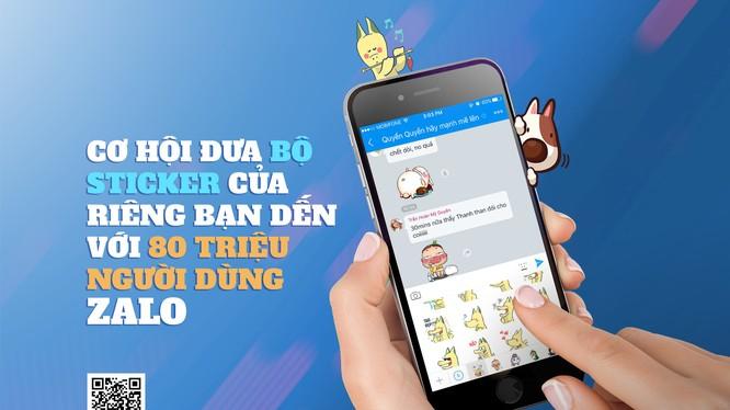 Cơ hội giới thiệu Sticker tự thiết kế đến 80 triệu người dùng Zalo. Ảnh: K.X