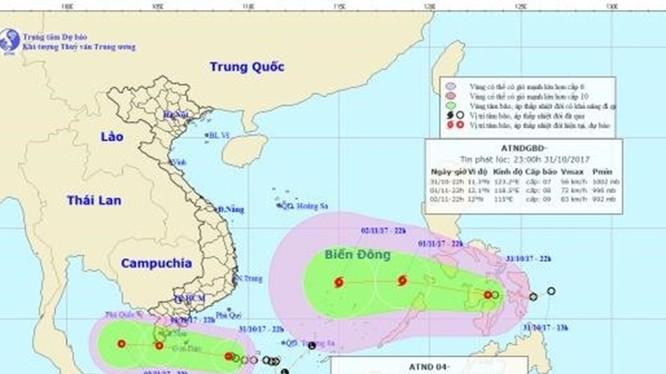 Vị trí và hướng đi của 2 áp thấp nhiệt đới. Ảnh: NCHMF