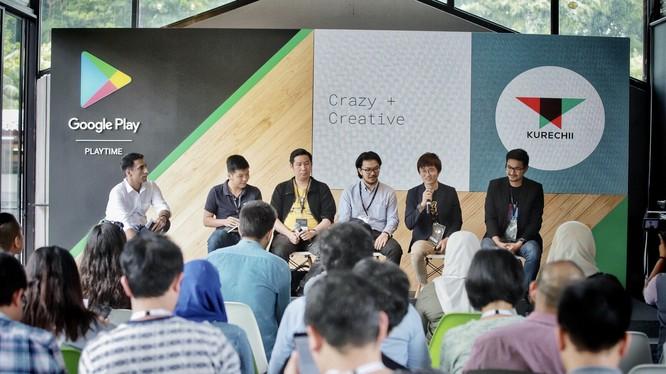 Nguyễn Tuấn Cường đại diện Amanotes (thứ 2 bên trái qua) cùng các nhà phát triển ứng dụng đến từ Châu Á Thái Bình Dương. Ảnh: Google.