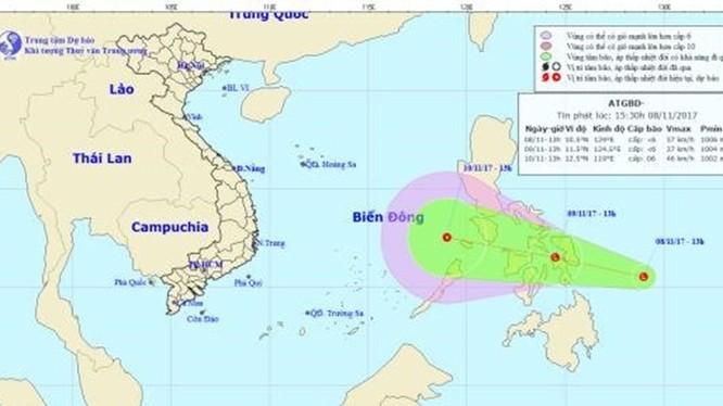 Theo dự báo, đến 13 giờ ngày 9.11, vị trí trung tâm vùng áp thấp ở vào khoảng 11,5 độ Vĩ Bắc; 124,5 độ Kinh Đông, trên khu vực miền Trung Philippines. Ảnh: NCHMF