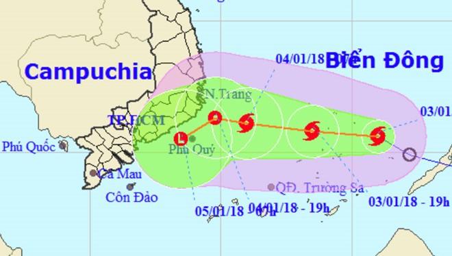 Dự báo bão số 1 sẽ suy yếu trước khi vào bờ. Nguồn: NCHMF.