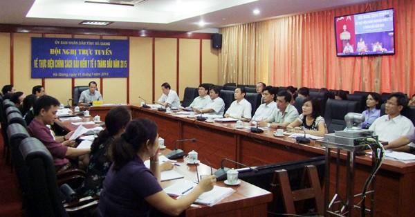 Hội nghị trực tuyến về thực hiện chính sách bảo hiểm y tế. Ảnh: BHXH Hà Giang