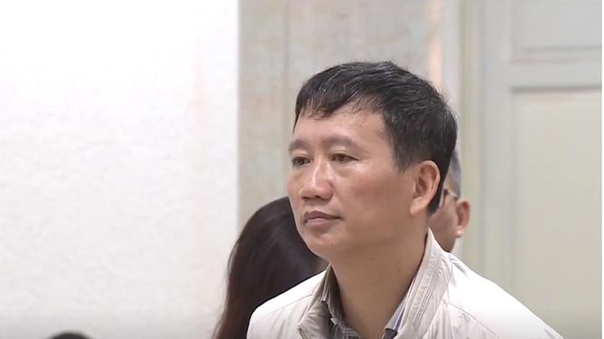 Bị cáo Trịnh Xuân Thanh trong phiên xét xử sáng nay.