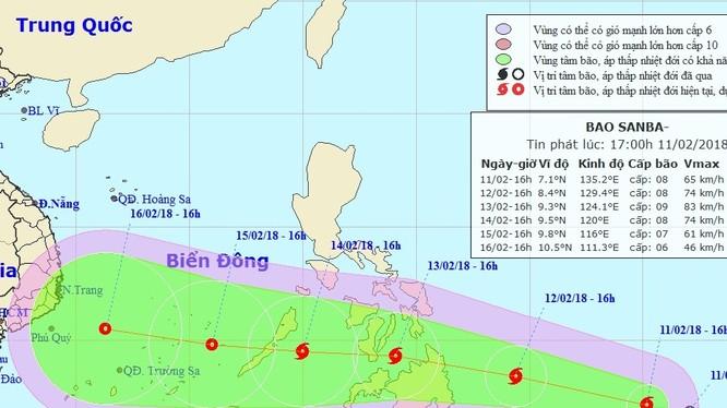 Bão giật cấp 12 đang tiến nhanh vào Biển Đông. Ảnh: Trung tâm dự báo khí tượng thủy văn Trung ương.