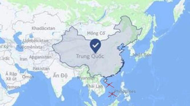 """Ảnh chụp màn hình bản đồ của Facebook xác định cả Hoàng Sa, Trường Sa khi chọn vị trí """"Trung Quốc"""" (ảnh chụp ngày 1/7/2018)."""