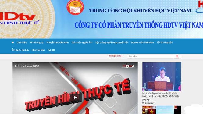 Ảnh chụp màn hình website của công ty HDTV Việt Nam.