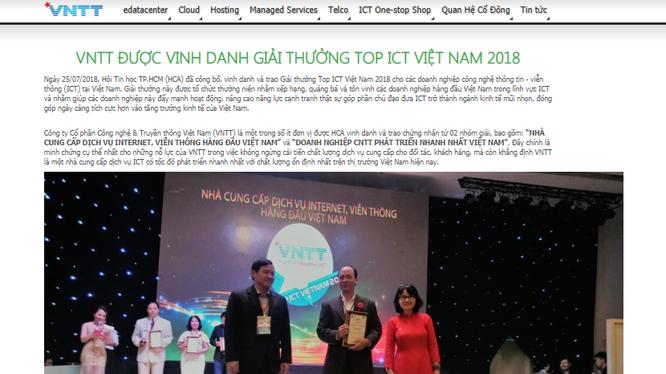 Ảnh chụp màn hình website Công ty cổ phần công nghệ và truyền thông Việt Nam công bố nhận giải thưởng tại Lễ trao giải Top ICT Việt Nam năm 2018.