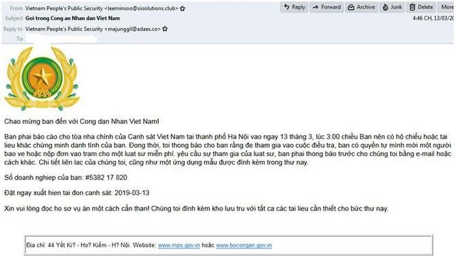 Hình ảnh tệp tin chứa mã độc tống tiền GandCrab 5.2 được phát tán qua thư điện tử giả mạo Bộ Công an Việt Nam.