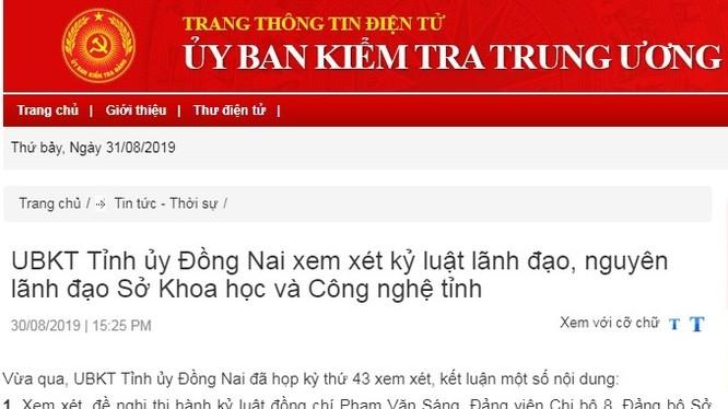 Các nội dung kỷ luật theo kết luận của UBKT Tỉnh ủy Đồng Nai được công bố rộng rãi trên trang thông tin của UBKT Trung ương.