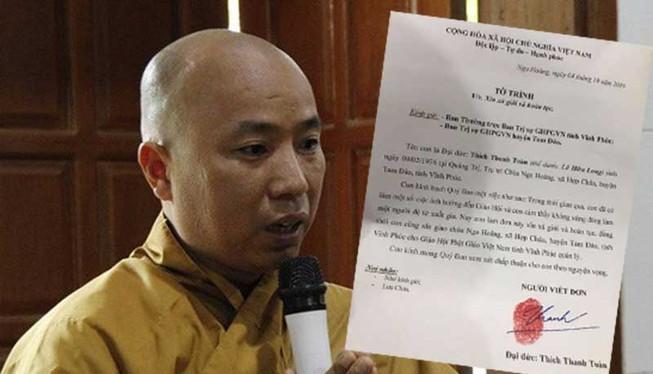 Sư thầy Thích Thanh Toàn có đơn xin xả giới, hoàn tục và báo cáo với đại diện Giáo hội Phật giáo Việt Nam tỉnh Vĩnh Phúc rằng ông có tài sản lên đến 200-300 tỷ đồng.