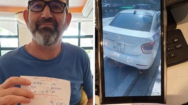 Vị khách nước ngoài và chiếc biên lai cùng hình ảnh chiếc xe người đàn ông này nhanh tay chụp được.
