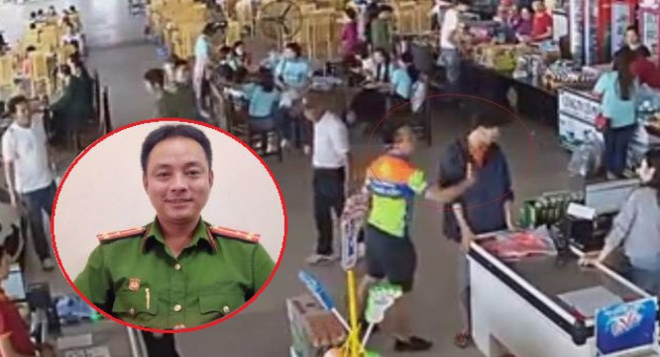 Thượng úy Nguyễn Xô Việt và hình ảnh ghi lại thời điểm hành hung nhân viên trạm dừng nghỉ.