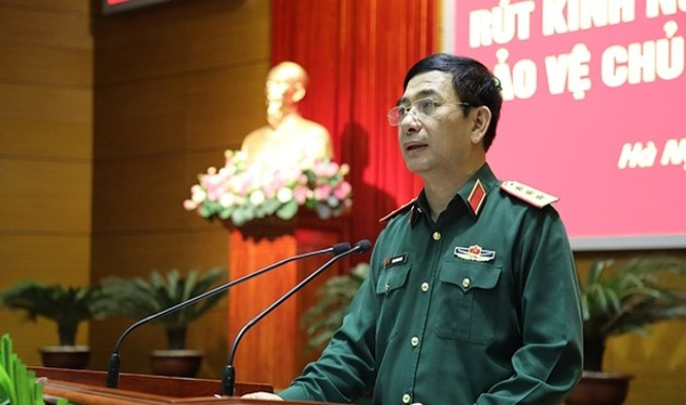 Thượng tướng Phan Văn Giang phát biểu tại hội nghị.