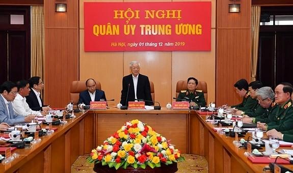 Tổng Bí thư, Chủ tịch nước Nguyễn Phú Trọng, Bí thư Quân ủy Trung ương phát biểu tại Hội nghị.