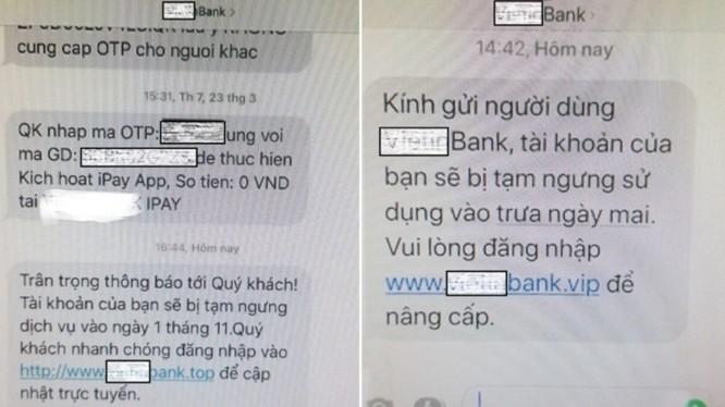 Hình ảnh một ngân hàng bị các đối tượng hack gửi tin nhắn Brand Name.