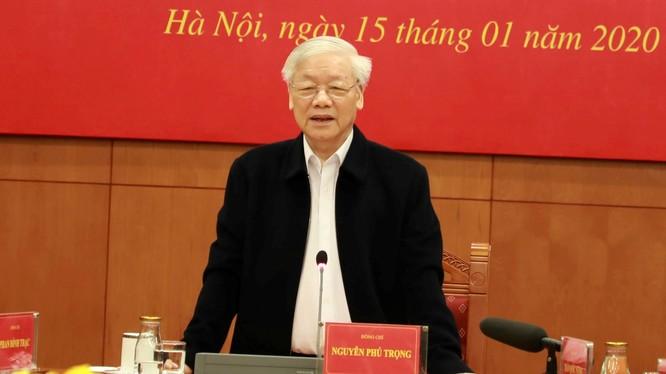 Tổng Bí thư, Chủ tịch nước Nguyễn Phú Trọng yêu cầu đẩy nhanh tiến độ, xử lý dứt điểm các vụ án, vụ việc tham nhũng, kinh tế nghiêm trọng, phức tạp. Ảnh: VGP.