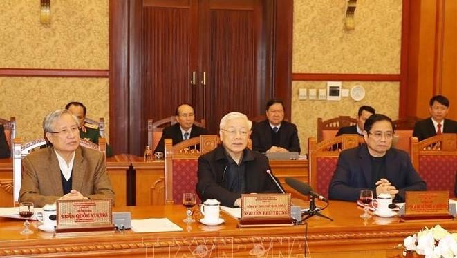 Tổng bí thư, Chủ tịch nước Nguyễn Phú Trọng chủ trì họp Ban Bí thư. Ảnh: TTXVN