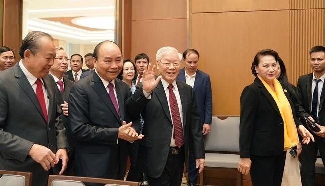 Tổng bí thư, Chủ tịch nước Nguyễn Phú Trọng dự hội trưc nghị trực tuyến toàn quốc của Chính phủ, ngày 30/12/2019. Ảnh: TTXVN