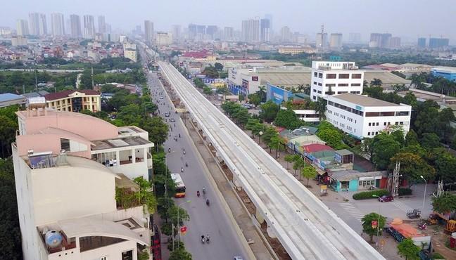 Gói thầu xây dựng đường cầu cạn trên cao, dự án đường sắt đô thị tuyến Nhổn - ga Hà Nội đã hoàn thành. Ảnh: VOV.