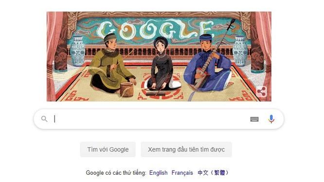 Biểu tượng Google Doodle tôn vinh Ca trù trên trang chủ Google tiếng Việt (Google.com.vn) ngày 23/2. Ảnh chụp màn hình: Anh Lê