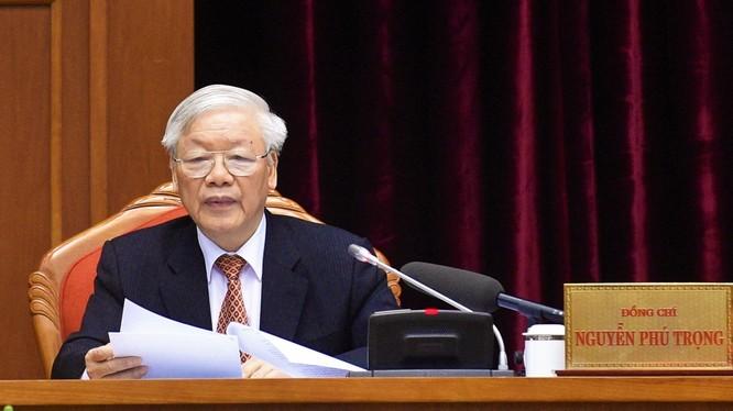 Tổng Bí thư, Chủ tịch nước Nguyễn Phú Trọng chủ trì hội nghị. Ảnh: VPCP.