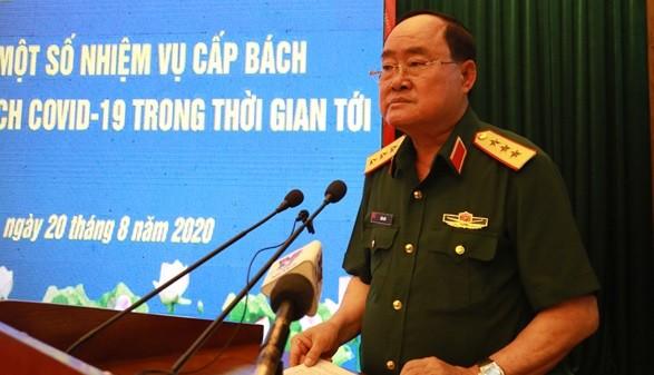 Thượng tướng Trần Đơn phát biểu tại hội nghị trực tuyến về triển khai một số nhiệm vụ cấp bách phòng, chống dịch COVID-19. Ảnh: Bộ Quốc phòng.