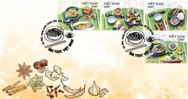 Bộ tem Ẩm thực Việt Nam trong ngày phát hành.