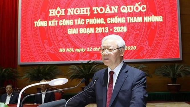 Tổng Bí thư, Chủ tịch nước Nguyễn Phú Trọng, Trưởng Ban Chỉ đạo Trung ương về phòng, chống tham nhũng phát biểu kết luận Hội nghị - Ảnh: TTXVN
