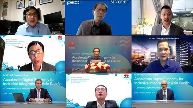 """Các diễn giả tham gia hội thảo quốc tế trực tuyến chủ đề """"Thúc đẩy nền kinh tế số để hội nhập toàn diện ở châu Á - Thái Bình Dương - Kết nối các ngành kỹ thuật số trong đại dịch""""."""