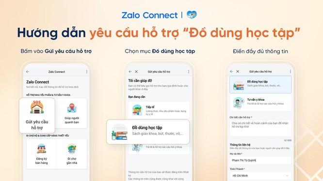 """Gửi yêu cầu hỗ trợ """"Đồ dùng học tập"""" qua Zalo Connect"""