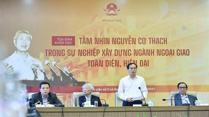 Hội thảo tại BNG nhân kỷ niệm 100 ngày sinh cố Ngoại trưởng Nguyễn Cơ Thạch. Ảnh Bộ Ngoại giao.