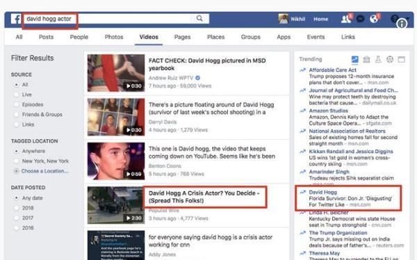 Các chuyên gia fake news đã tung video và bài viết giả mạo về sinh viên David Hogg, nhằm làm suy yếu tiếng nói phản đối dùng súng của học sinh (Ảnh: Quartz)