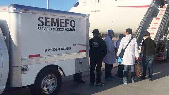 Nhân viên pháp y Mexico có mặt trên chuyến bay phải hạ cánh khẩn (Ảnh: Guardian)