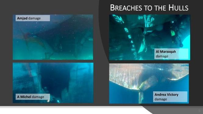 Hình ảnh đánh giá tổn thất của các tàu bị tấn công mà các nước công bố (Ảnh: CNN)