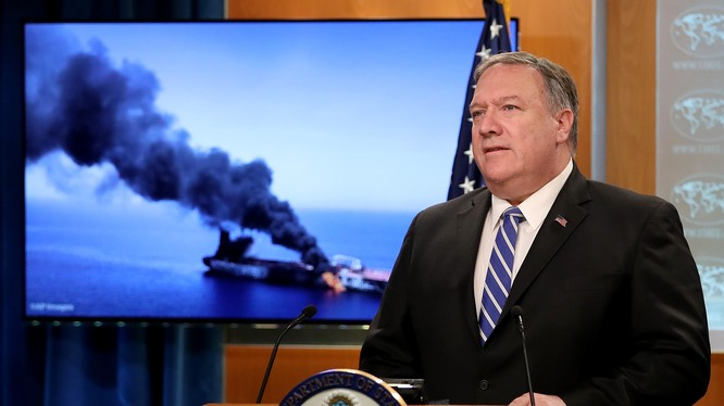 Ngoại trưởng Mỹ Mike Pompeo thông báo về vụ tấn công trên Vịnh Oman hô 13/6 (Ảnh: CNN)