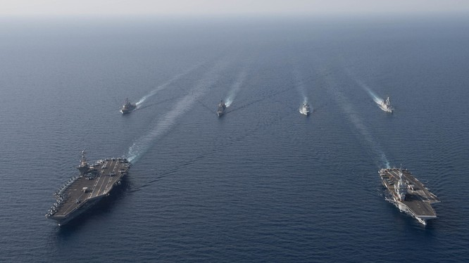Chiến hạm Mỹ, Pháp, Đan Mạch tuần tra chung trên biển vào tháng 4/2019 (Ảnh: US Navy)