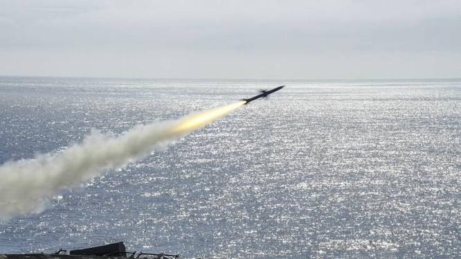 Tên lửa RIM-7P phóng từ hệ thống tên lửa Sea Sparrow từ tàu tấn công lưỡng cư USS Boxer trong cuộc tập trận bắn đạn thật ngày 29/1/2019 (Ảnh: Newsweek)