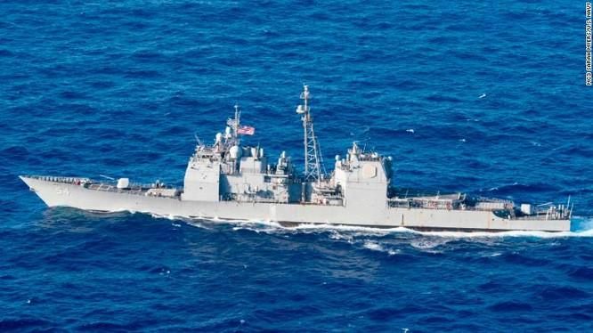Mỹ thường xuyên điều chiến hạm đi qua eo biển Đài Loan (Ảnh: CNN)