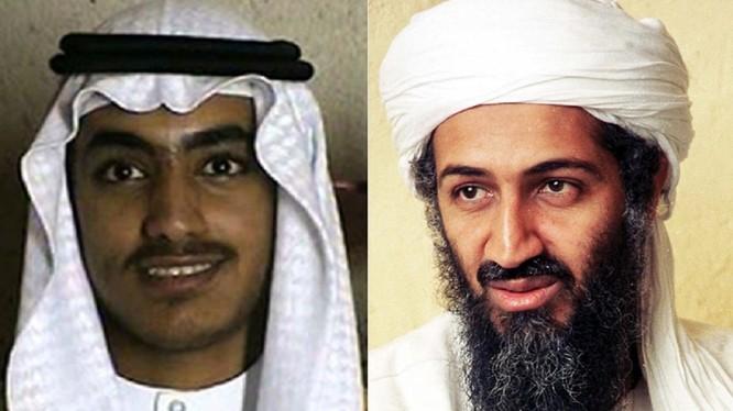Hamza bin Laden (trái) và cha mình là trùm khủng bố Osama bin Laden (Ảnh: Getty)