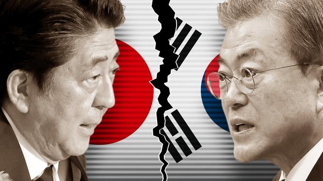 Tranh chấp căng thẳng giữa Nhật Bản và Hàn Quốc tạo điều kiện thuận lợi cho các bên thù địch (Ảnh: FT)