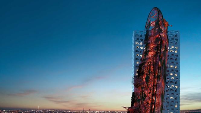 Phối cảnh tòa tháp Top Tower có hình dạng xác tàu đắm giữa lòng Prague (Ảnh: CNN)
