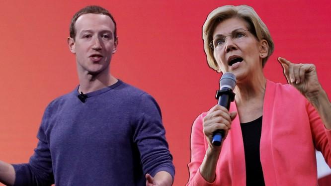 Ông chủ Facebook Mark Zuckerberg cực lực phản đối kế hoạch mạnh tay với doanh nghiệp lớn của bà Warren (Ảnh: Independent)