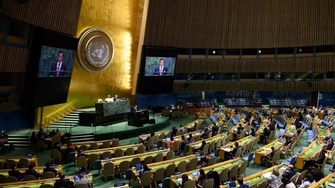 Trưởng phái đoàn Triều tiên Kim Song phát biểu tại kỳ họp Đại hội đồng LHQ lần thứ 74 tổ chức hôm 30/9 tại New York, Mỹ (Ảnh: Newsweek)