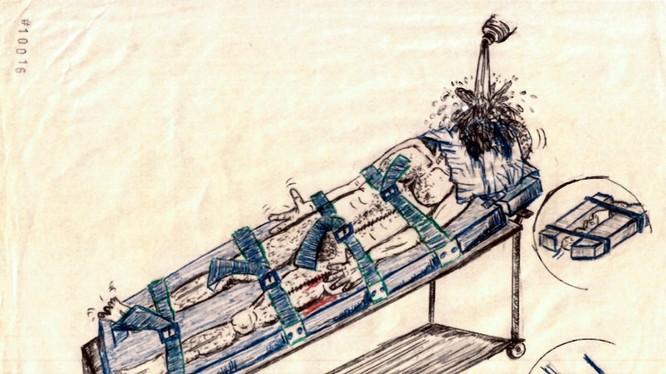 """Bức hình mô tả hình thức tra tấn """"trấn nước"""" khét tiếng của CIA (Ảnh: NYT)"""