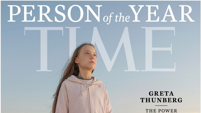 """Bức ảnh Greta Thunberg được đăng trên bìa của tạp chí Time với dòng chữ """"Sức mạnh của tuổi trẻ"""" (Ảnh: Time)"""